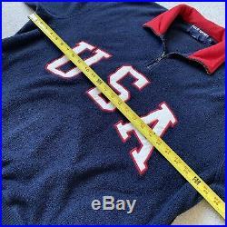 Vintage 90s Polo Sport Ralph Lauren USA Flag Fleece Quarter Zip Jacket Medium