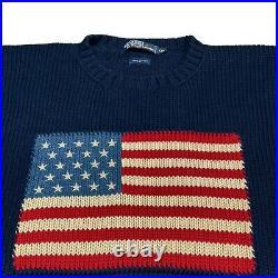 Vintage 90s Ralph Lauren POLO USA Flag Sweater navy sz XXL rare