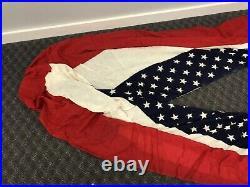 Vintage AMERICAN FLAG BUNTING Cotton Gauze usa linen white blue us banner HUGE
