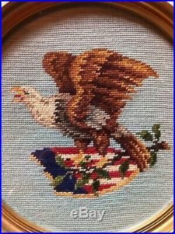 Vintage American Flag Bald EAGLE Framed Hand Crafted NEEDLEPOINT ART USA PATRIOT