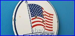 Vintage American Porcelain USA Flag God Bless Police Cops Gas Station Pump Sign