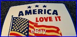 Vintage American Porcelain USA Flag Love It Leave It Service Gas Service Sign