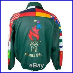 Vintage Atlanta 1996 Jacket Olympics Leather Coat XL Flags Logo 90s Team USA