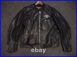 Vintage BROOKS Leather Motorcycle CAFE RACER Jacket Size 46 AMERICAN FLAG XL