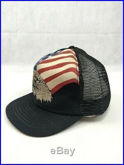 Vintage Bald Eagle Trucker Hat Mesh Foam USA American Flag 80's Made in USA