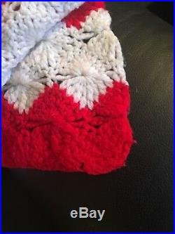 Vintage Hand Made USA American Flag Hand Knit Woven Throw Blanket 50 Star RARE