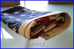 Vintage Huge 48 Star American Flag 57 X 34 America Red White Blue Rare Linen