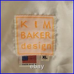 Vintage Kim Baker American Flag Bomber Jacket Mens XL White Vegas Made In USA