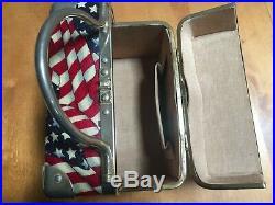 Vintage Lisette Purse American Flag USA Box Train Case Bag EUC