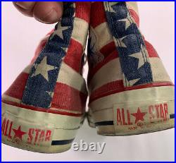 Vintage Made In USA high Top Converse Size 8.5 American Flag Stars Stripes 8 1/2