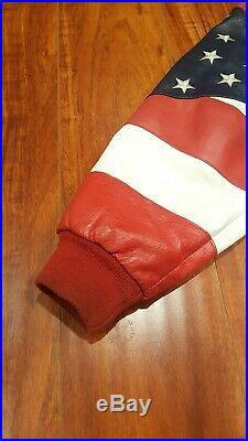 Vintage Michael Hoban LARGE USA WhereMI American Flag Leather Jacket Bomber L