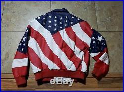 Vintage Michael Hoban Where MI USA Flag American Leather Jacket Size L