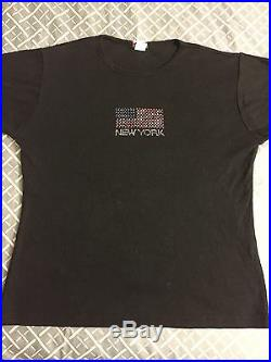 Vintage New York Y2K 2000s Bedazzled American Flag Shirt Women's Medium