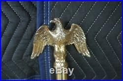 Vintage Oak & Brass Indoor Flag Pole Stand American Eagle Finial USA 94