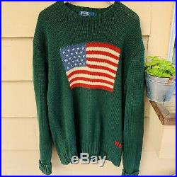 Vintage Polo Ralph Lauren American Flag USA Knit Sweater 2XL XXL Green From 2001