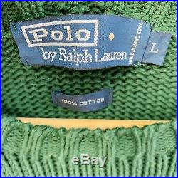Vintage Polo Ralph Lauren American Flag USA Knit Sweater L Green From 2001