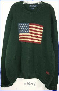 Vintage Polo Ralph Lauren American Flag USA Knit Sweater XXL Green From 2001