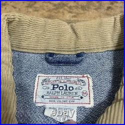 Vintage Polo Ralph Lauren Denim Jacket Size Medium American Flag 90s USA made