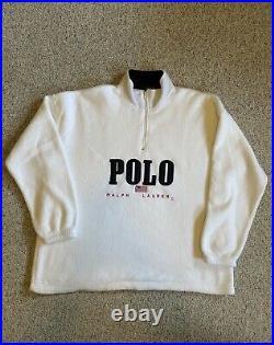 Vintage Polo Ralph Lauren Fleece Quarter Zip American Flag Made In USA Rare