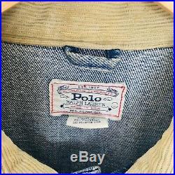 Vintage Polo Ralph Lauren Men's Large Denim Jacket American Flag USA