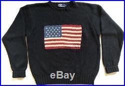 Vintage -Polo Ralph Lauren USA American Flag Knit Crewneck Sweater 90s Men's Med