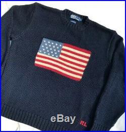 Vintage Polo Ralph Lauren USA Sweater Knit American Flag Navy L MINT 1992