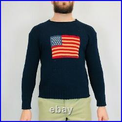 Vintage Polo Sport Ralph Lauren USA Flag Jumper Medium Navy Knitted Cotton