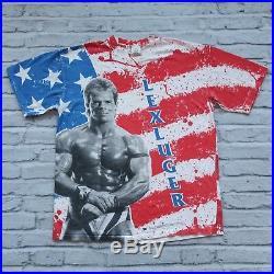 Vintage RARE 1993 WWF Lex Luger American Flag Tshirt Size XL USA WWE