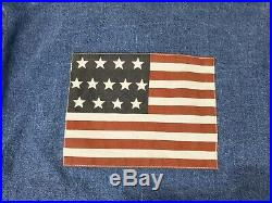 Vintage Ralph Lauren Polo American Flag Denim Jacket Rare Dungarees Jean USA XL