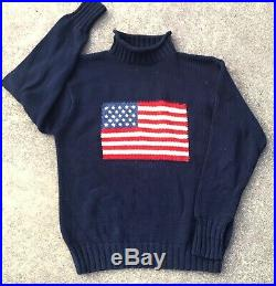 Vintage Ralph Lauren Polo Country Big USA American Flag Sweater Mens M Sport RL