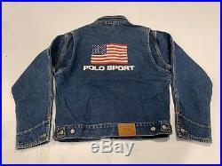 Vintage Ralph Lauren Polo Dungarees Sport American Flag Denim Jacket USA Large