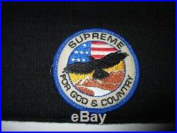 Vintage Supreme For GOD & COUNTRY Eagle USA American Flag patch beanie Hat mnwka