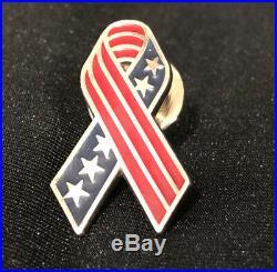 Vintage Tiffany & Co. 925 Sterling American USA Flag Ribbon Military Pin 2001