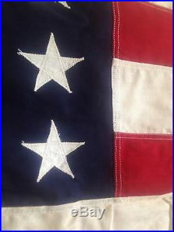 Vintage WW2 Era 48 Star American U. S. Flag 4'x6' Sewn Stars Stripes USA Made