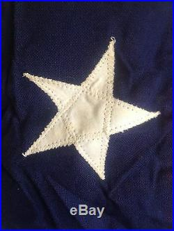 Vintage WW2 Era 48 Star American U. S. Flag 5' X 9.5' Sewn Stars Stripes