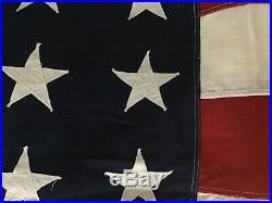 Vintage WW2 Era 48 Star American U. S. Flag 5'x9.5' Stiched Stars Stripes