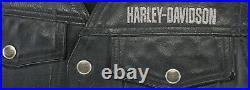 Vintage mens harley davidson leather vest L black PISTON II snap bar lace up