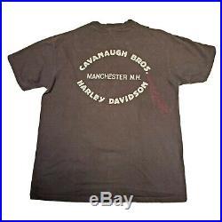 Vtg 1970s Harley Davidson Shop T-Shirt Manchester, NH Sz L 3D Skull X Eagle Rare