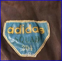 Vtg 80s Adidas Squad 204 1943 Airborne Leather Jacket M Flight Polo Sport USA