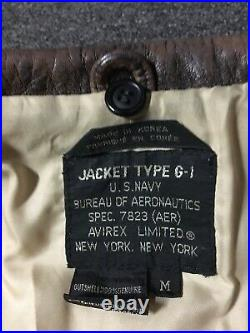 Vtg 80s Avirex G-1 US Navy Leather Flight Jacket M Air Force Biker Motorcycle