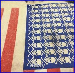 Vtg 80s Mosquitohead All Over Print Shirt L USA America Protest Flag Art