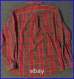 Vtg 90s Polo Ralph Lauren Flannel Workshirt XL Red Striped Sport USA Lumberjack