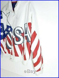 Vtg 90s Team USA Olympics American Flag Leather Varsity Jacket Milan Italy Retro