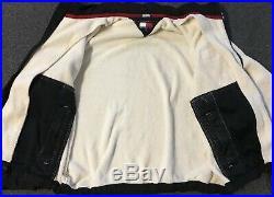 Vtg 90s Tommy Hilfiger Flag Deep Pile Fleece Jacket XL Cream Polo Sport Sailing