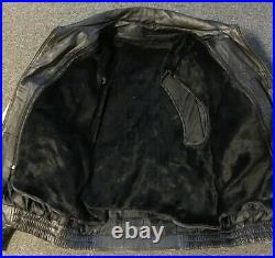 Vtg American Flag Bald Eagle VFW USA Leather Jacket L Veteran Biker Army 80s 90s