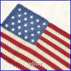 Vtg POLO Ralph Lauren 90's American Flag Knit USA RL Cream Crewneck Sweater L