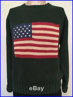 Vtg POLO by RALPH LAUREN AMERICAN FLAG KNIT CREWNECK SWEATER Forest Green M USA