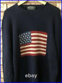 Vtg Ralph Lauren Polo Country Mens Ribbed Sweater American Flag Graphic Blue L