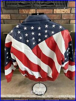 WHEREMI Michael Hoban Patriotic American Flag USA Leather Jacket Mens XL Vintage