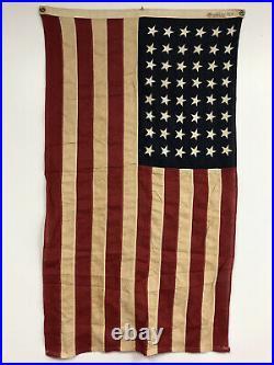 WW2 Era 48 Star 3'x 5' Vintage Cotton Linen U. S. American Flag Stitched Sewn